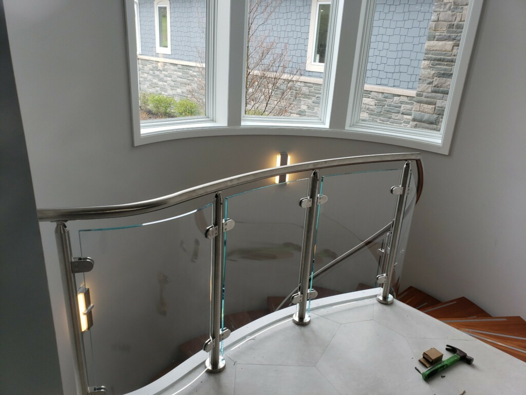 glass and metal railing Glass Railing Installation SE Michigan Designs In Glass